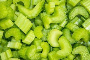 Dozens of pieces of diced celery