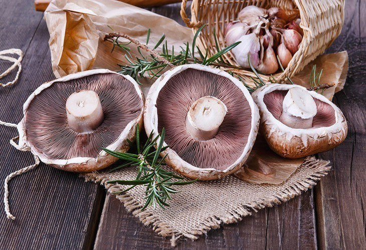Fresh-Portobello-mushroom-and-rosemary-in-a-basket-how-to-grow-portobello-mushrooms