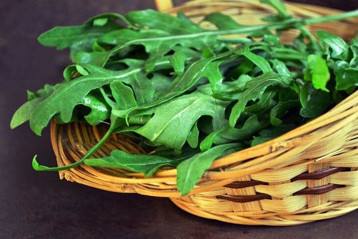 A-wicker-basket-with-freshly-harvested-Arugula-leaves-how-to-harvest-Arugula