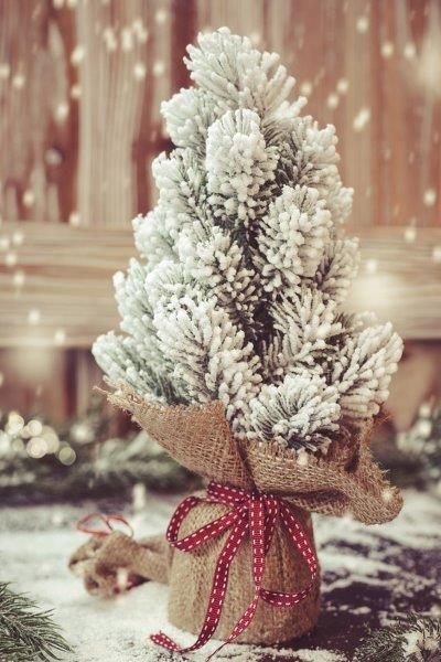Christmas-tree-wrapped-in-burlap-and-red-bow-How-to-Put-Ribbon-on-a-Christmas -tree