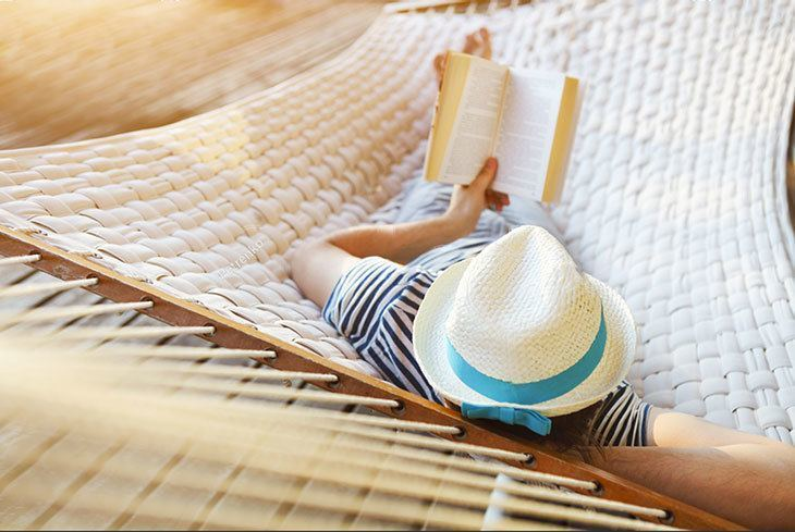 Relaxed reading on a hammock