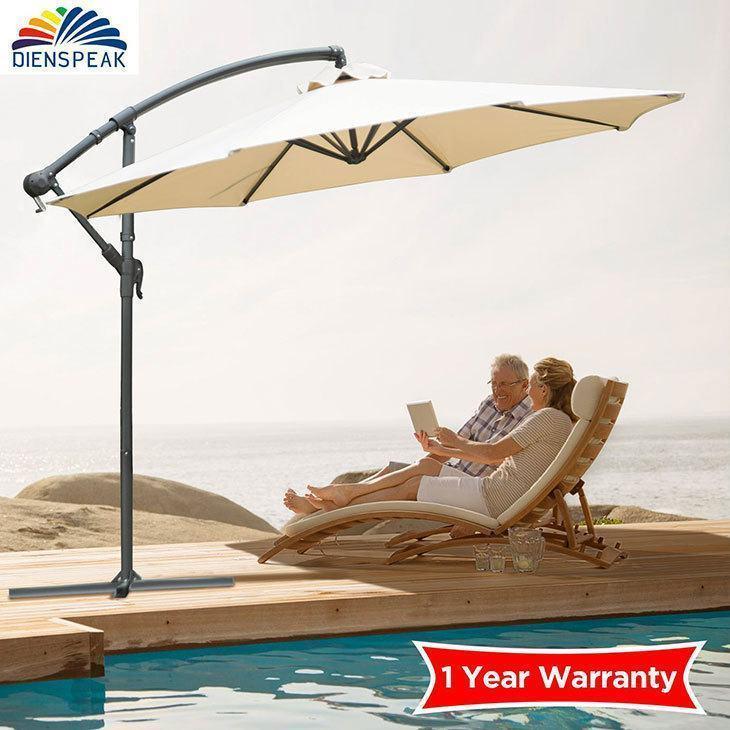 Dienspeak Deluxe Patio Aluminum Cantilever Umbrella Offset Hanging Umbrella  Sunshade 1000 Hours Fade Resistant Outdoor