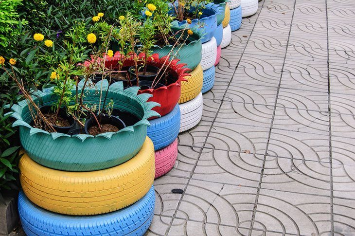 Beautiful old tires garden decors
