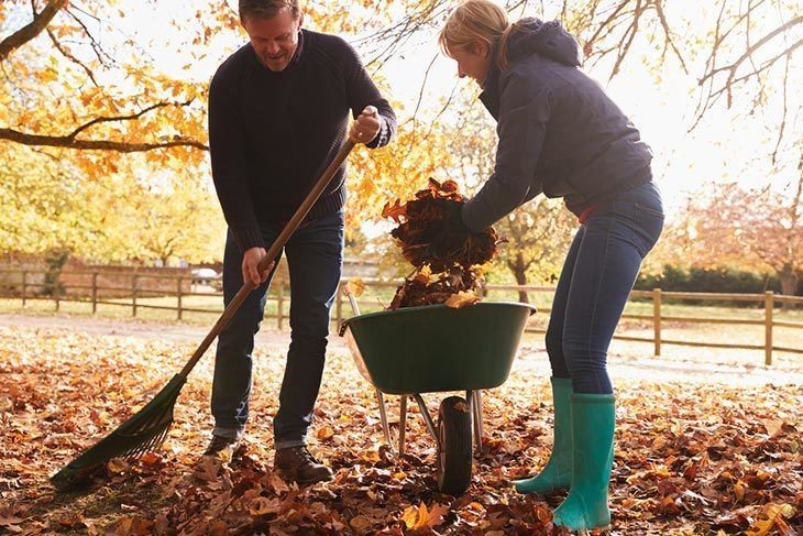 Mature-Couple-Raking-Autumn-Leaves-in-Garden