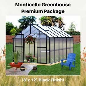 Monticello-Greenhouse-Premium-Package,-8'-x-12',-Black-Finish