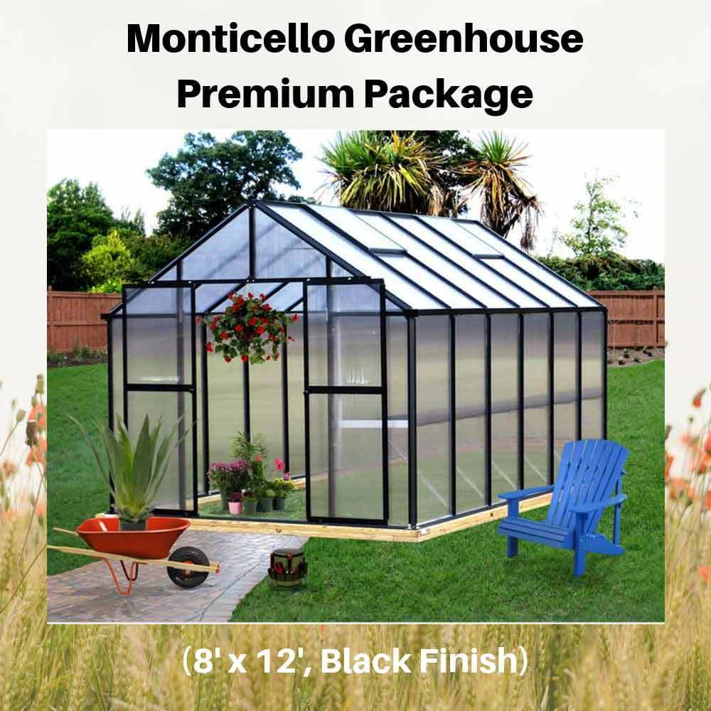 Monticello-Greenhouse-Premium-Package,-8'-x-12',-Black-Finish