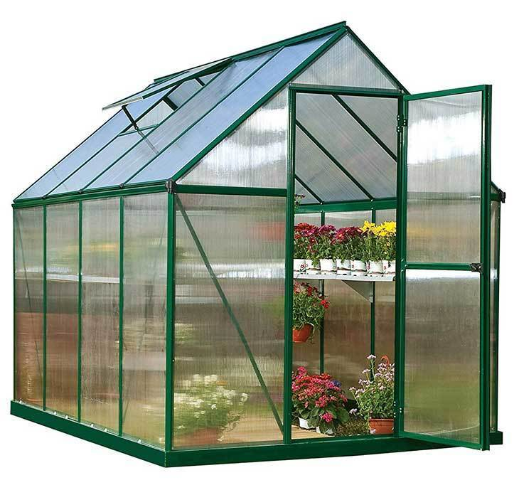 Palram-Nature-Series-Mythos-Hobby-Greenhouse-6'-x-8'-x-7'-Forest-Green