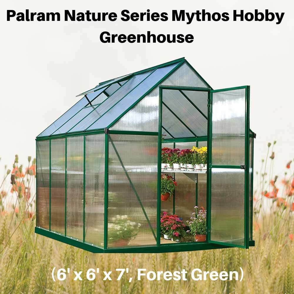 Palram-Nature-Series-Mythos-Hobby-Greenhouse-6'-x-8'-x-7'--Forest-Green