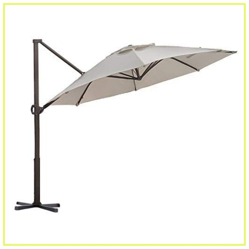 Abba Patio Offset Cantilever Umbrella 11-Feet Outdoor Patio Hanging Umbrella with Cross Base, Beige