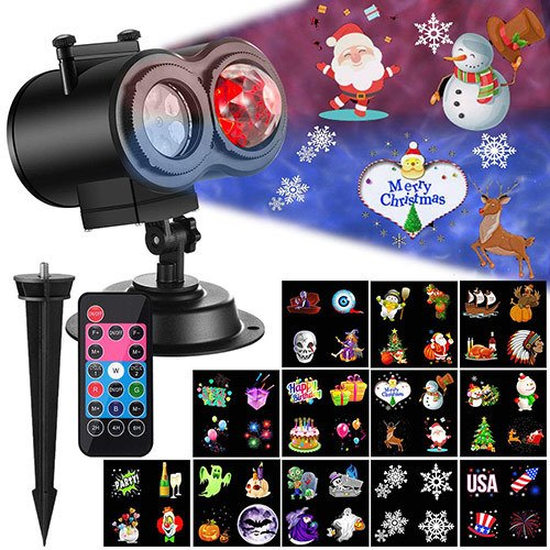 Ocean Wave Christmas Projector Lights 2-in-1 Moving Patterns with Ocean Wave LED Landscape Lights